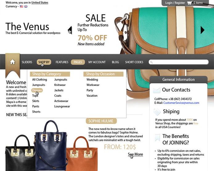 """Venus"" Stylish eCommerce Theme"