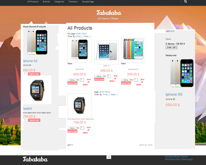 TabaTaba responsive free WordPress theme